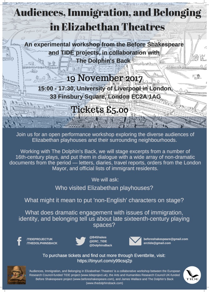 POSTER Audiences, Immigration, and Belonging in Elizabethan Theatres