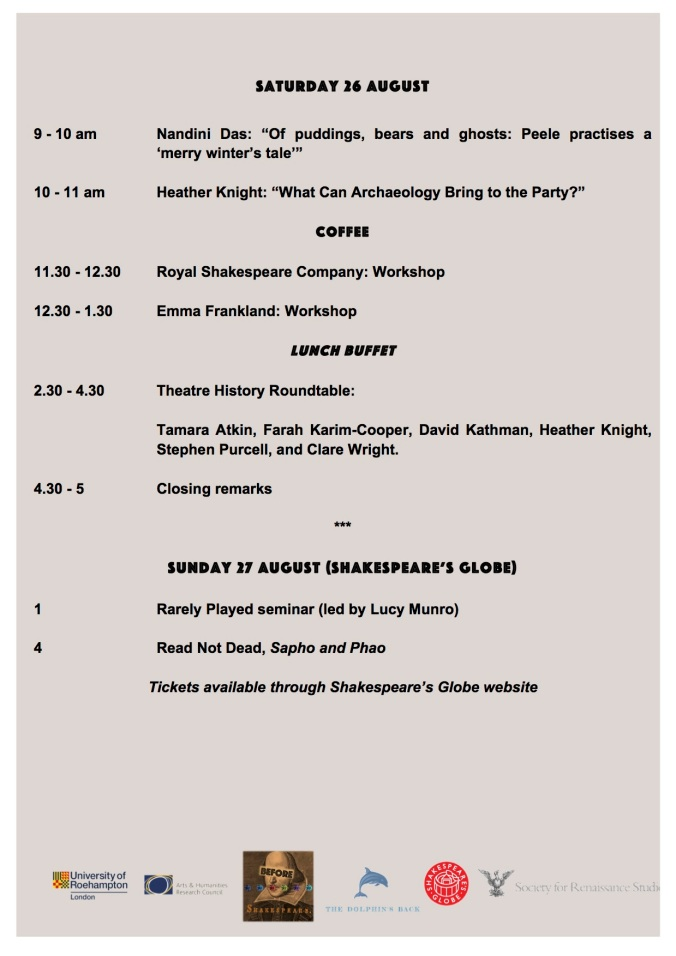 Before Shakespeare Schedule IMAGE 3