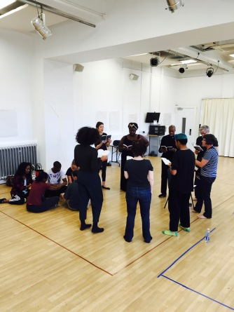 Galatea crew learn the songs of the play as set out by Vicky Abbott